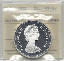 **1981**,ICCS Graded Canadian Silver Dollar **PF-67 UHC**Trns Can. Rlwy.