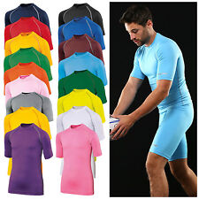 Mens Short Sleeve Base Layer Top Compression Armour Thermal Top Gym Sports Shirt
