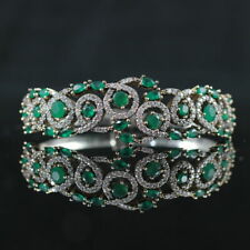 5.50 Ct Emerald & Sim Diamond Women's Cuff Bracelet 14K White Gold FN Silver