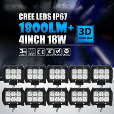 "10X 18W 4""IN CREE LED BAR WORK LIGHT FLOOD BEAM OFFROAD DRIVING FOG LAMP ATV UTE"