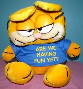 "Vintage Dakin 28"" Garfield 1981 XL Plush Stuffed Animal Are We Having Fun Yet"