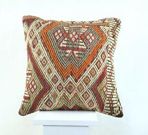 Kilim Pillow Cover 16x16 Oriental Traditional Handmade Bohemian Cushion A1180