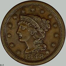 1848 N-8 R.3- Braided Hair Cent, High Grade, Almost Uncirculated, Choice Cent