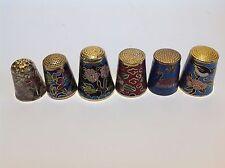 Job lot. 6 Chinese enamel cloisonne thimbles.Vintage,collectable.Birds & flowers