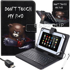 """Xmas Gift For 10"""" 10.1 inch Tablet Pattern Leather Case Cover Micro USB Keyboard"""