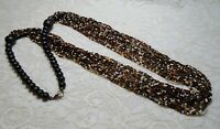 VINTAGE MULTI STRAND BLACK WHITE & GOLD GLASS SEED BEADED LONG NECKLACE 32 INCH