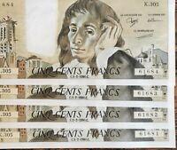 Suite de 4 Billets 500 francs PASCAL 1 - 2 - 1990 K.305 numéros consécutifs NEUF