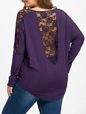Plus Size XL-5XL Women Lady T-Shirt Blouse Tops Lace Insert Sheer Long Sleeve