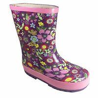 Girls Mauve Pink Flowery Wellington Boots Wellies Size 5 6 7 8 9 10 11 12 13 1 2