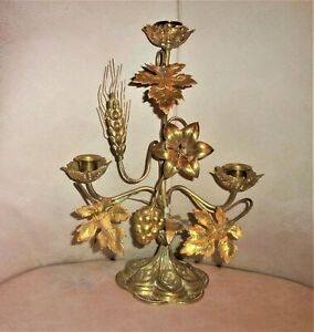 "Antique French Solid Brass Church Altar Candelabra 3-Lite 13.5""T x 10""W"