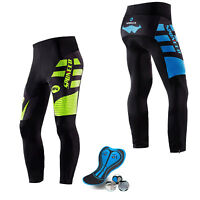 Men's Biking Long Pants Specialized Sports Bike Padded Lycra Shorts M-3XL New