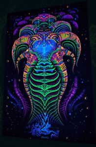 Ultraviolet Neon blacklight glow Trippy Psychedelic Wall hanging UV tapestry