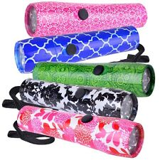 5-Pack Halo Aluminum 9-LED Flashlights (Pattern Print) Batteries included