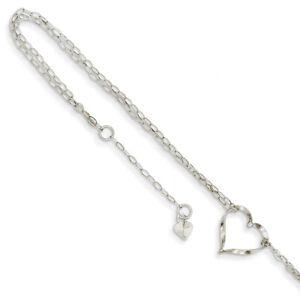 14k White Gold Double Strand Heart Anklet ANK174-9