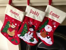 Personalised Embroidered Christmas Stocking Santa Snowman Ivory top luxury sack