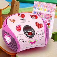 Pinke Mädchen Stereo Anlage CD Player tragbar Kinder Zimmer Musik Herzen Sticker