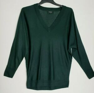 M&S WOMENS JUMPER XS/S BOTTLE GREEN LOOSE KIMONO WOOL CASHMERE SILK 406