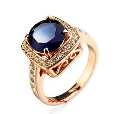 Rose Gold Plated Sapphire Blue Square Ring Antique Style Lady's Ring Size 8 R25