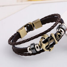 Cool Unisex Bracelet Men Leather Belt Boat Anchor Wristband Bangle Gift Black