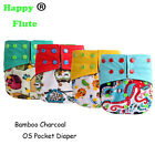 Happy Flute Bamboo Charcoal Pocket Diaper Reusable Washable Baby Diaper 1pcs