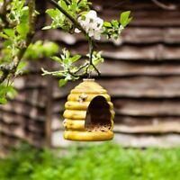Hanging Bird Feeder Ceramic Beehive Shape Outdoor Garden Ornament Bee Hive