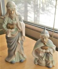 2 ceramic wisemen figures nativity Christmas light blue kneeling standing 11.25""