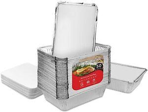 Stock Your Home 2 lb Disposable Aluminum Pans with Foil Lids - 50 Pack