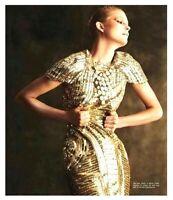 $5,690.00 Monique Lhuillier Gold Sequin Embellished Cocktail Dress IT 44 / US 8