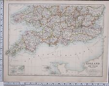 1889 LARGE ANTIQUE MAP ~ ENGLAND & WALES SOUTH DORSET SOMERSET DEVON CORNWALL