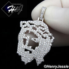 MEN 925 STERLING SILVER LAB DIAMOND ICED OUT BLING JESUS FACE CHARM PENDANT*P163
