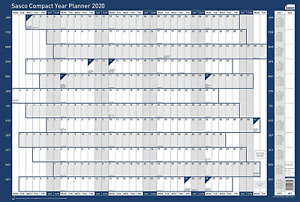 Sasco 2410106 2020 Compact Landscape Poster Style Year and A1 Wall Planner with