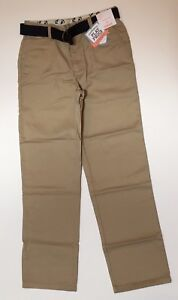 NWT Gymboree Boys Deep Khaki Flat Front Uniform Pants Size 10 with Belt