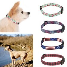 Dog Collar Designer Print Adjustable Pet Collar Plastic Clips with Metal Loop