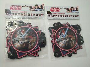 Star Wars Happy Birthday Banner Disney Lot of 2 Kids Party New THE LAST JEDI