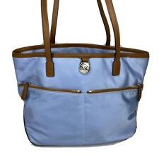 Michael Kors Handbag Kempton Tote Shoulder Bag Purse Blue Nylon Leather Trims