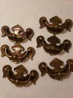 Vintage Keeler Solid Brass Bail Furniture Drawer Pull Handle Lot of 6 -K4694 (b)