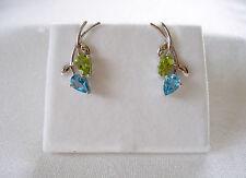 1.98 Ct. Blue Topaz & Peridot  10k White Gold 'Flower' Earrings