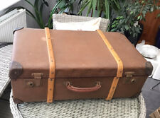 ANTIQUE BAMBOO WOOD BANDED HARD MATERIAL TRAVEL LUGGAGE TRUNK SUITCASE