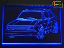"""LED Leuchtschild Zeichnung Gravur Tuning für """"VW Golf 1 GTI Cabrio"""" blau ©faunz"""
