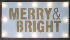 Lighted Christmas Wall Decoration Sign Merry & Bright White Gold Studio Decor