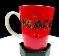 """STARBUCKS RED PEACE ON EARTH 4 1/8"""" COLLECTOR HOLIDAY CUP / MUG 2006"""