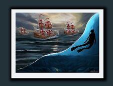 1715 Fleet 300th Aniv. Signed Art Print -Florida Undersea Scuba Treasure Hunting