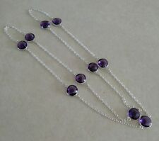 """NATURAL ROUND PURPLE AMETHYST 925 STERLING SILVER LONG CHAIN NECKLACE 28"""" MALA"""