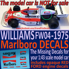 F1 Car Collection WILLIAMS FW04 MARLBORO Water Slide Decals 1975 1:43 scale