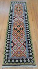 "2'7"" x 9' Gorgeous Kilim Runner Hand Made Wool Oriental Rug Excellent"