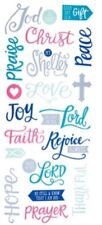 Religious Faith Foiled Phrases Scrapbook Stickers 5x12""