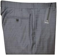 $495 NEW ZANELLA NORDSTROM DEVON GRAY BLUE GRID SUPER 150'S WOOL DRESS PANTS 36