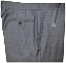 $495 NWT ZANELLA NORDSTROM DEVON GRAY w BLU GRID SUPER 150'S WOOL DRESS PANTS 36