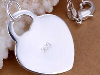 925 Sterling Silver Classic Large Heart Tag Pendant Love Necklace Jewelry Gift