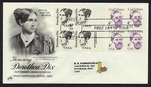 #1844 1c Dorthea Dix, Art Craft [3] FDC ANY 4=